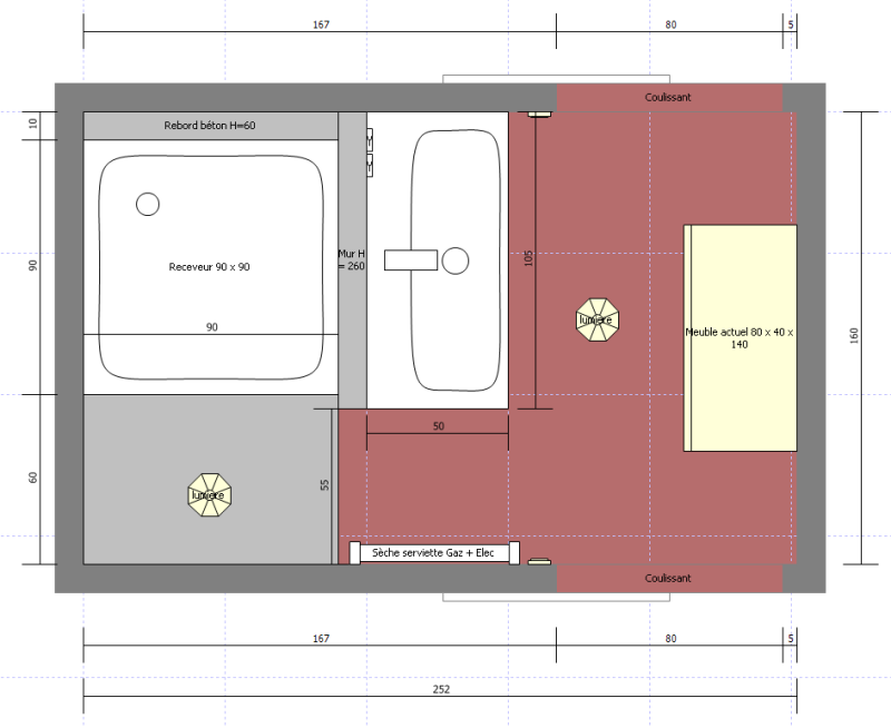 Plan sdb handicap id es novatrices de la conception et for Amenagement salle de bain plan